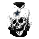 Cool Star Skull Pattern Sport Loose Long Sleeve Pullover White Hoodie