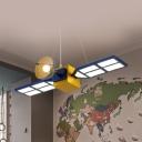 Modern Creative Gilder Pendant Lamp Metal Acrylic Hanging Light in Yellow for Child Bedroom