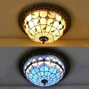 Stained Glass Dome Flush Ceiling Light Cloth Shop Tiffany Traditional Ceiling Lamp in Beige/Blue