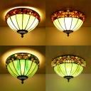 Art Glass Umbrella Ceiling Mount Light with Stone Tiffany Vintage Flush Light in Green/White for Corridor