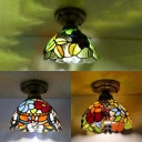 Stained Glass Plant Ceiling Mount Light with Bowl Shade Hallway 1 Light Vintage Tiffany Ceiling Fixture