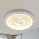 Boys Girls Bedroom Globe Flush Ceiling Light Acrylic Modern Stylish Ceiling Fixture with White&Yellow Lighting