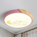 Crescent Cloud Child Bedroom Flush Mount Light Acrylic Kids LED Ceiling Fixture in Pink/Yellow