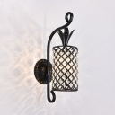 Two Lights Pineapple Wall Sconce Light Modern Style Metal Sconce Lamp with Crystal Bead in Black for Corridor