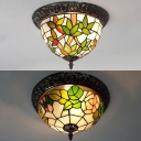 White Bowl Flush Mount Light with Bamboo/Rose 2 Lights Stained Glass Ceiling Lamp for Balcony