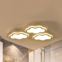 Cloud Child Bedroom Ceiling Lamp Metal 3/4 Heads Creative LED Flush Mount Light with Warm/White Lighting