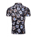 Guys Cool Unique Poker Card Pattern Short Sleeve Black Slim Fit Polo Shirt
