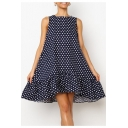 Summer Trendy Classic Polka Dot Printed Round Neck Sleeveless Swing Ruffled Tank Dress