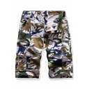 Hot Fashion Camouflage Printed Flap Pocket Zip-fly Regular Fit Men's Casual Cargo Shorts