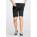 Summer Simple Fashion Drawstring Waist Zip Pocket Black Cotton Sport Sweat Shorts