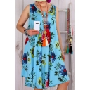 Summer Chic Fashion Floral Printed Round Neck Sleeveless Loose Midi Tank Dress