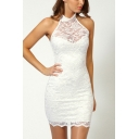 Womens Fancy Halter Neck Sleeveless Mini Bodycon Lace Dress Club Dress