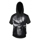 The Cool Skull Printed Short Sleeve Casual Loose Black Comic Hoodie