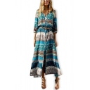 Summer Hot Popular Tribal Printed V-Neck Long Sleeve Button Down Maxi Beach Bohemian Dress