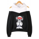 Popular Senpai Comic Anime Girl Print Cold Shoulder Long Sleeve Casual Hoodie