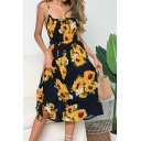 Summer Hot Popular Sunflower Pattern Bow-Tied Waist Midi A-Line Strap Dress
