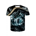 Cool 3D Mechanic Core Pattern Round Neck Short Sleeve Black Tee