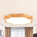 Blossom Living Room Ceiling Mount Light Wood Acrylic Modern Stepless Dimming LED Ceiling Lamp in Beige