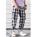 New Fashion Plaid Pattern Stripe Patched Flap Pocket Men's Casual Cotton Drawstring Cargo Pants