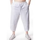 Men's Summer Linen Simple Plain Drawstring Waist Cropped Carrot Pants