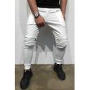 New Fashion Solid Color Pleated Detail Zipper Embellishment Men's Casual Elastic Pencil Pants