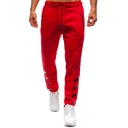 Simple Fashion Four Bar Stripes Printed Zipped Pocket Drawstring Waist Men's Casual Sport Sweatpants