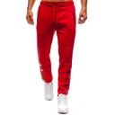 Simple Fashion Four Bar Stripes Printed Zipped Pocket Drawstring Waist Men's Casual Sport Sweatpants