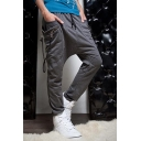 Men's Fashion Zipper Ribbon Embellishment Drop-Crotch Drawstring Waist Plain Cotton Joggers Harem Pants