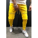 New Fashion Zipped Pocket Drawstring Waist Slim Fit Joggers Pencil Pants for Men