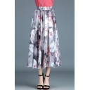 Summer Retro Ethnic Style Chic Floral Print Maxi Chiffon Flared Skirt for Women