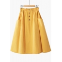 Summer Womens Simple Plain Elastic Waist Button-Fly Midi Cotton A-Line Skirt with Pocket