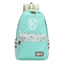 New Trendy Floral Letter Printed Students Large Capacity Nylon School Bag Backpack