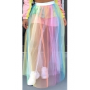 Fashion Ombre Color High Waist Sheer Mesh Maxi Tulle Skirt for Women