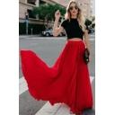 Summer Womens Hot Popular Plain High Rise Pleated Maxi Flared Skirt