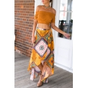 Womens Summer Fashion Holiday Tribal Printed Maxi Yellow Beach Wrap Skirt