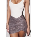 Womens Summer Sexy Ruched Zipper Back Silver Sequined Mini Short Crossover Skirt