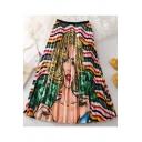 New Stylish Comic Figure Striped Printed Elastic Waist Midi A-Line Pleated Skirt