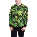Green Weed Leaf Print Basic Crewneck Long Sleeve Loose Leisure Sweatshirt