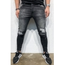 Men's New Fashion Stripe Patched Black Skinny Ripped Jeans