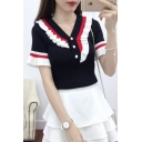 Summer Girls Retro Colorblocked Ruffled Hem Button V-Neck Short Sleeve Knit T-Shirt Top