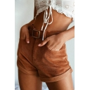 Fashion Khaki Corduroy Rolled Cuff High Waist Casual Shorts