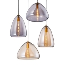 Glass Conical Shade Hanging Pendant Lamp Post Modern 1 Head Suspended light in Amber/Smoke