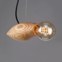 Open Bulb Cord Hanging Light Rustic Wooden 1-Light Pendant Lamp for Bar Restaurant
