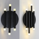 Black Linear Hallway Wall Lighting Modern Simple Metal 6 Lights Wall Sconce, 8