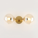 Cognac Shade Bowtie Wall Sconce Light Post Modern 2 Light Wall Lamp in Gold Finish