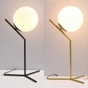 Spherical Shade Standing Desk Lamp Modern White Glass 1 Head Desk Light for Study Bedroom