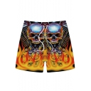 Guys Cool Fashion 3D Skull Printed Drawstring Waist Loose Fit Yellow Casual Shorts