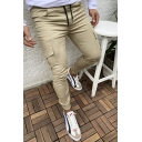 Men's Fashion Simple Plain Flap Pocket Side Drawstring Waist Elastic Cuffs Skinny Pencil Pants
