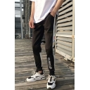 Men's Street Style Colorblock Graphic Printed Loose Fit Black Track Pants