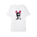 Funny Cute Rabbit Figure Printed Round Neck Short Sleeve White Cotton Tee